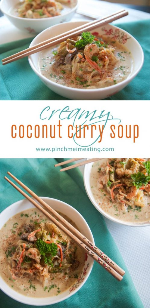Creamy coconut curry soup | Pinch Me, I'm Eating! This creamy, tangy coconut curry soup is full of vegetables and goodies and has just enough kick to keep it interesting!