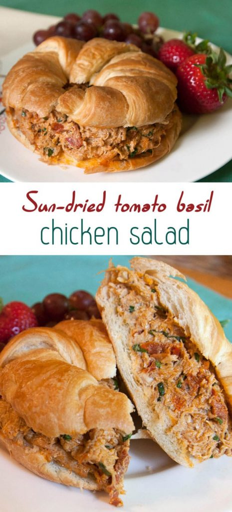 Sun-dried tomato basil chicken salad - There's nothing like the taste of this unique and flavorful chicken salad on a buttery croissant!   pinchmeimeating.com