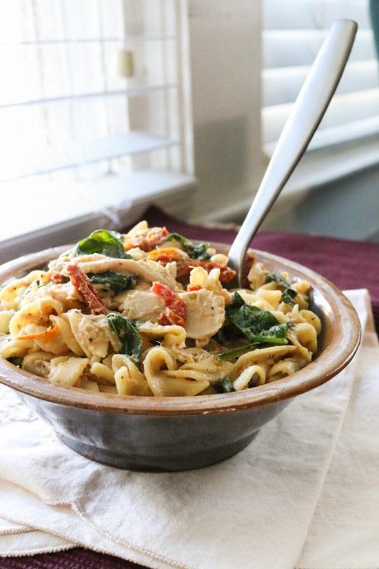 Creamy Crockpot Italian Chicken Pasta