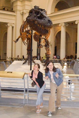 Me and my college roommate Casey, posing with a deceased member of our dinosaur ancestry.