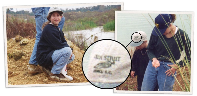 Me, approximately age 10, wearing my favorite Okra Strut baseball cap while fossil hunting with my sister.