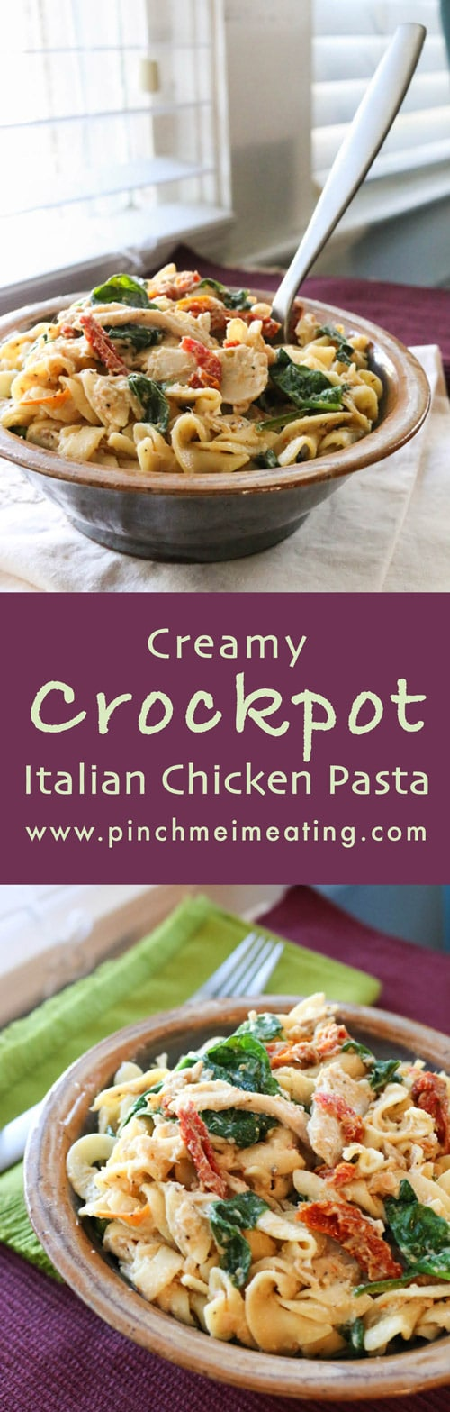 This creamy crockpot Italian chicken pasta requires almost no hands-on time and is the perfect comfort food for a busy day! | www.pinchmeimeating.com
