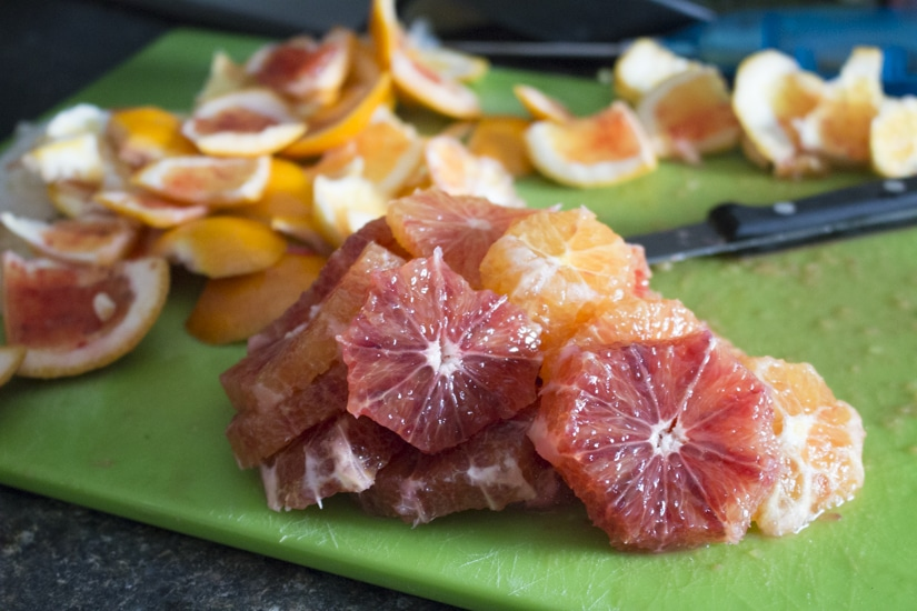 This fennel blood orange salad with arugula is fresh and healthy with peppery greens, crunchy fennel bulbs, and sweet, juicy blood oranges tossed in a simple vinaigrette. Great for clean eating! Make it a full meal with some added chicken sausage!