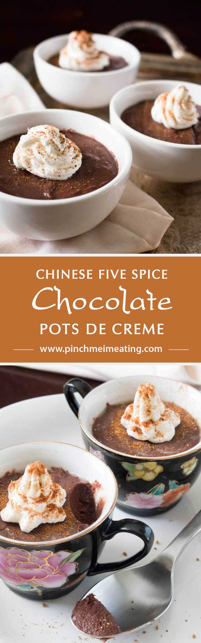 Chinese Five Spice Chocolate Pots de Creme - Smooth custard is infused with a blend of anise, cloves, cinnamon, fennel, and pepper. A romantic make-ahead dessert perfect for Valentine's Day. | www.pinchmeimeating.com
