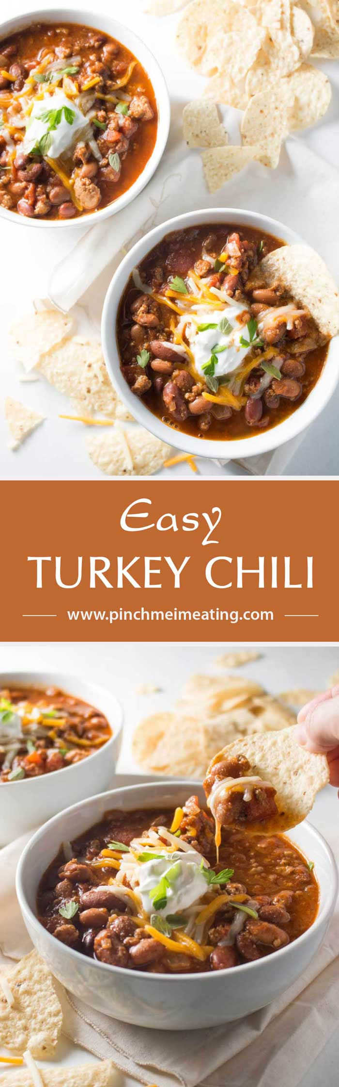 An easy turkey chili that's filling, cozy, and healthy. Perfect for dinner on a busy weeknight, and I only have to wash one pot! | www.pinchmeimeating.com