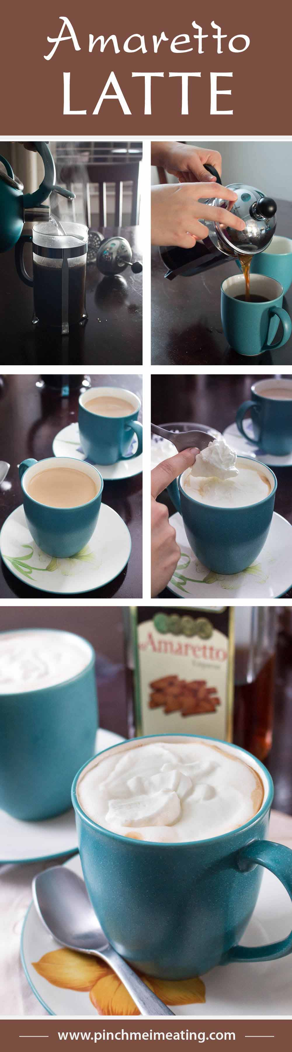 Not too sweet, and not too boozy, this deliciously nutty amaretto latte is juuuuust riiiiight. I love how simple it is to make, and it tastes like it's from a coffee shop! | www.pinchmeimeating.com