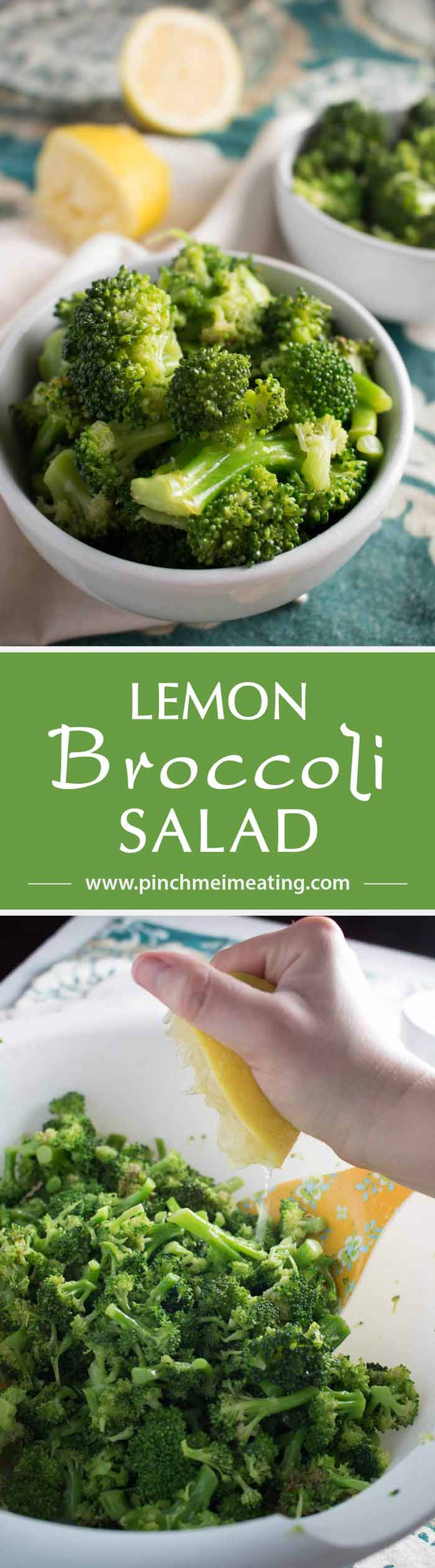 I can't stop eating this! A simple lemon broccoli salad with garlic is quick and easy to whip up as a healthy, fresh side dish. | www.pinchmeimeating.com