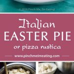 This traditional Italian Easter pie is a chance to indulge on Italian meats and cheeses — salami, pepperoni, mozzarella, ricotta, and hard boiled eggs — after the long fast of Lent. Also called pizza rustica, it's a hearty filling between a double crust of pizza dough. | www.pinchmeimeating.com