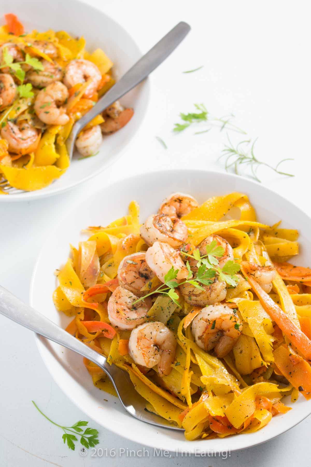 Scarborough Fair Carrot Noodles with Shrimp