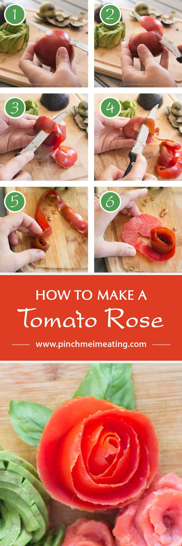Smoked salmon, tomato, and avocado rose salad, including step-by-step instructions on how to make a tomato rose. | www.pinchmeimeating.com