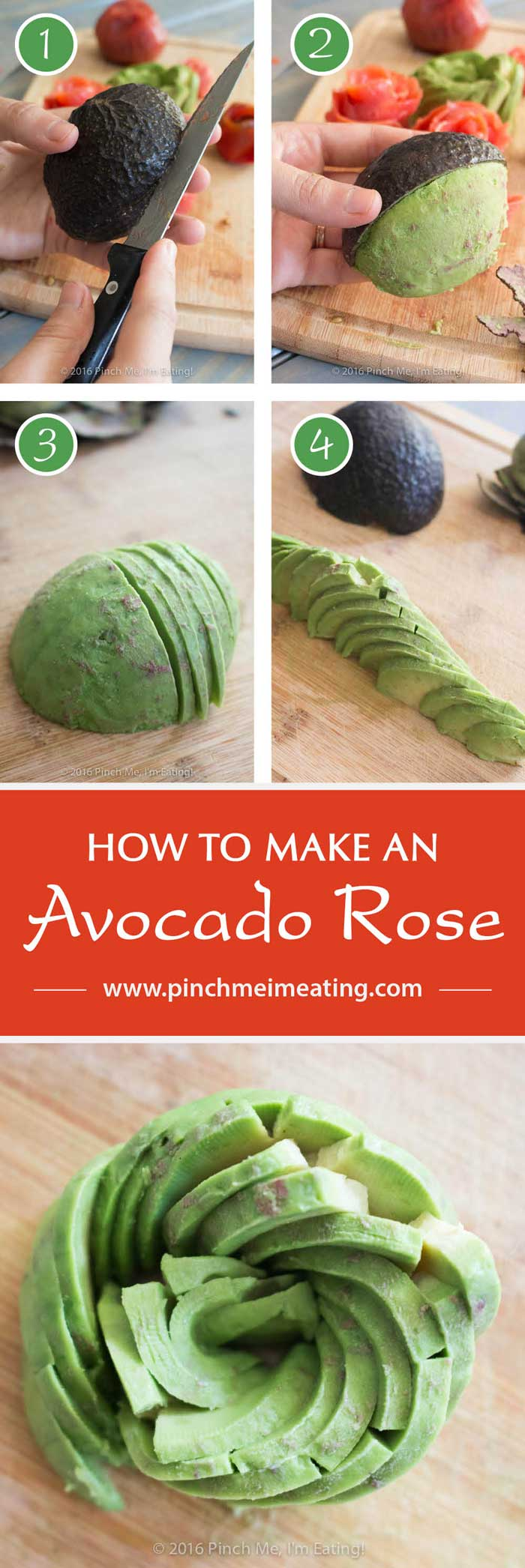 Smoked salmon, tomato, and avocado rose salad, including step-by-step instructions on how to make an avocado rose. | www.pinchmeimeating.com