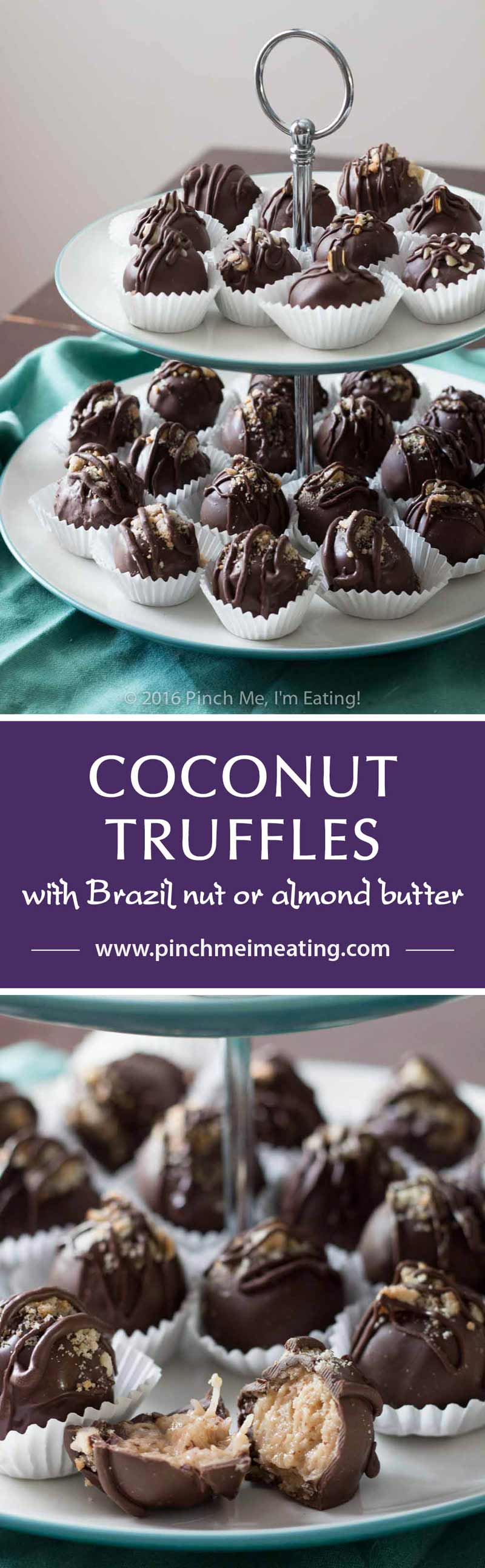 Chocolate covered coconut truffles with Brazil nut or almond butter are a rich, decadent, and easy gourmet dessert perfect for parties (or for treating yourself)! Best of all, you can make this recipe in advance! You can also use cashew butter or macadamia nut butter.   www.pinchmeimeating.com