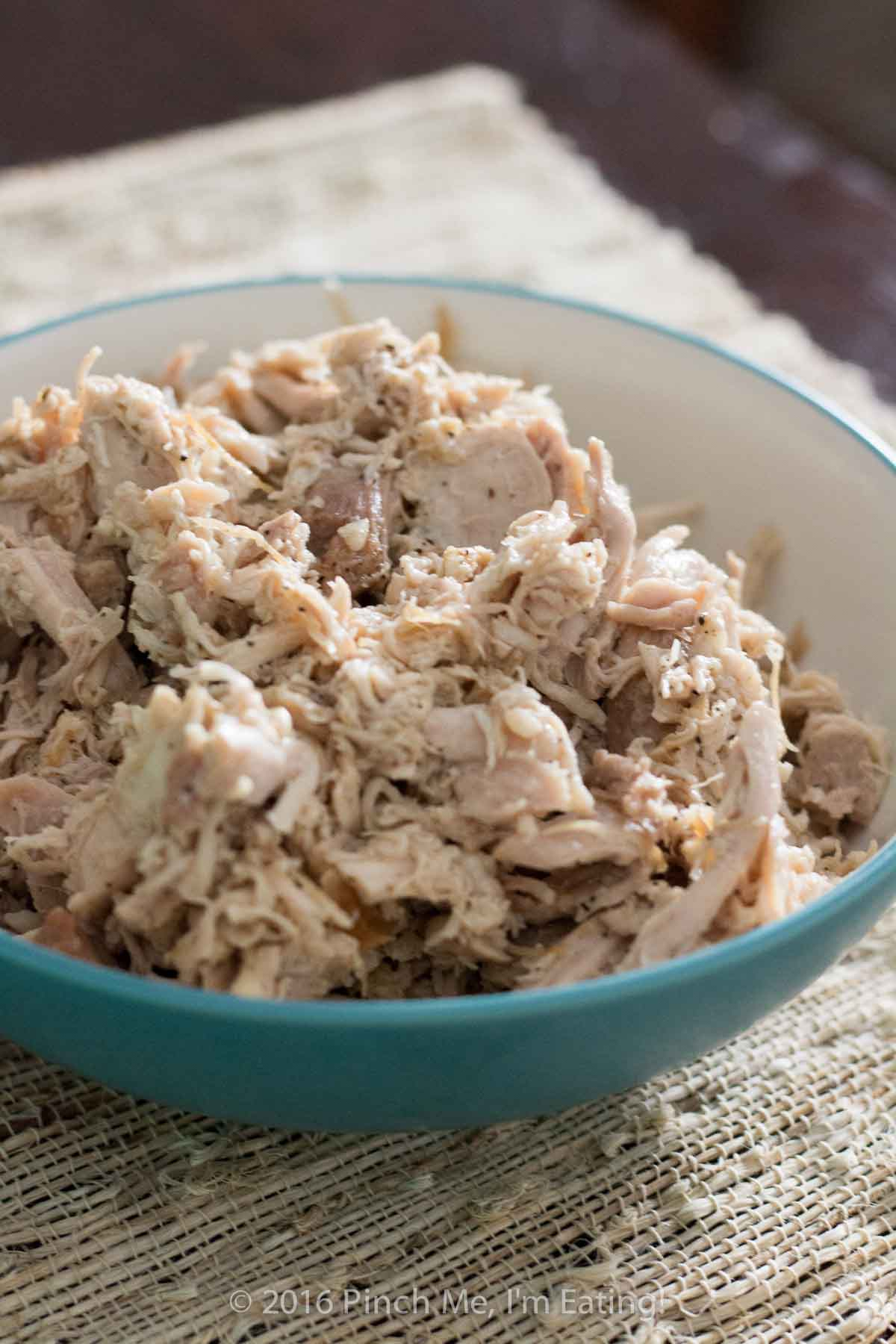 How to make shredded chicken for recipes in under 30 minutes! Flavorful, juicy, and great to have on hand for recipes!