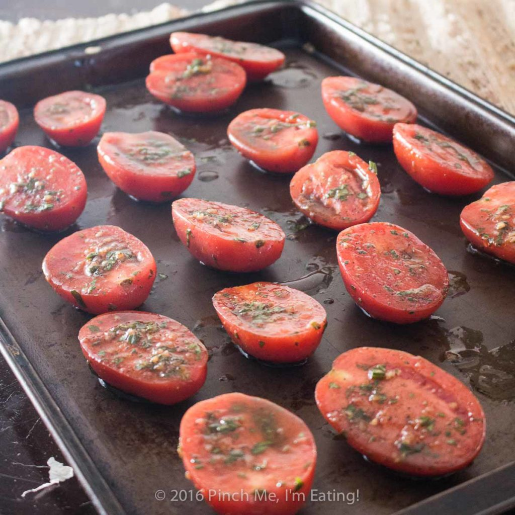 Slow-roasting roma tomatoes concentrates the flavor and creates a chewier texture so you can add a delicious burst of flavor to any recipe!