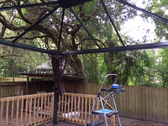 Gazebo with no roof panels - Hurricane Matthew prep