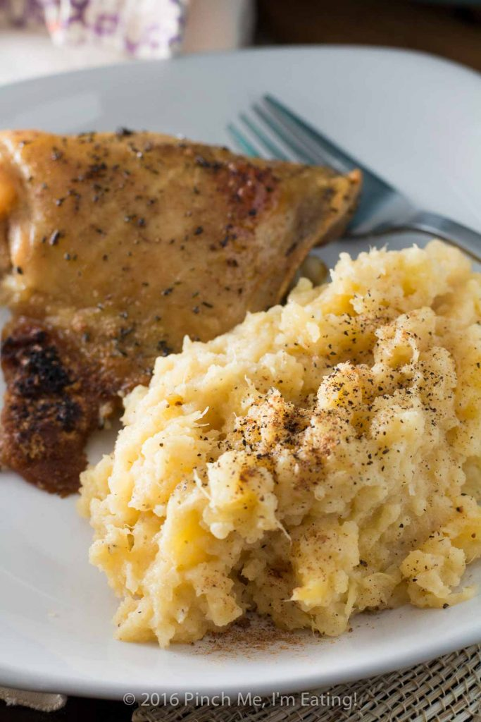 Mashed rutabaga is a delicious, naturally sweet low-carb Thanksgiving side dish made even better with a little nutmeg. You won't want to go back to potatoes!   www.pinchmeimeating.com