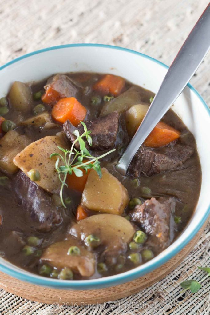 I love this stovetop beef stew with red wine! Beef so tender you can cut it with a spoon. It makes the house smell great and it couldn't be easier!