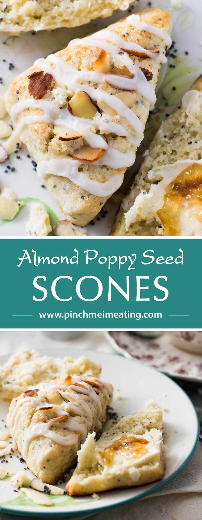 Almond poppy seed scones are a perfect companion to afternoon tea! Moist, dense, crumbly, and not overly sweet, they're a unique variation on the more common lemon poppy seed combination.