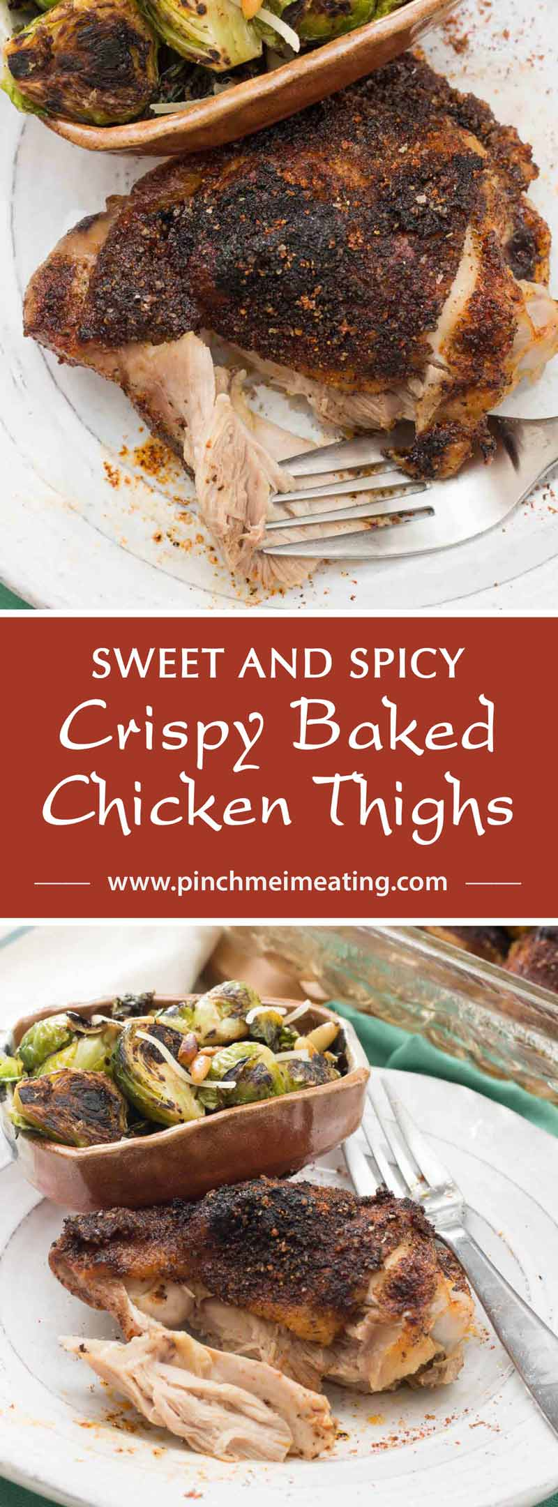 Covered in a delicious and simple sweet and spicy rub, these crispy baked chicken thighs are a satisfying, healthy, and easy main dish perfect for a weeknight dinner.