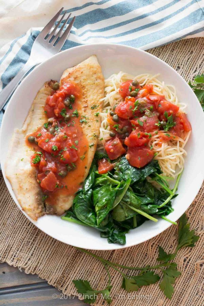 20 minute tilapia with tomatoes and capers pinch me im eating tilapia with tomatoes and capers is easy to make for a weeknight dinner healthy forumfinder Images
