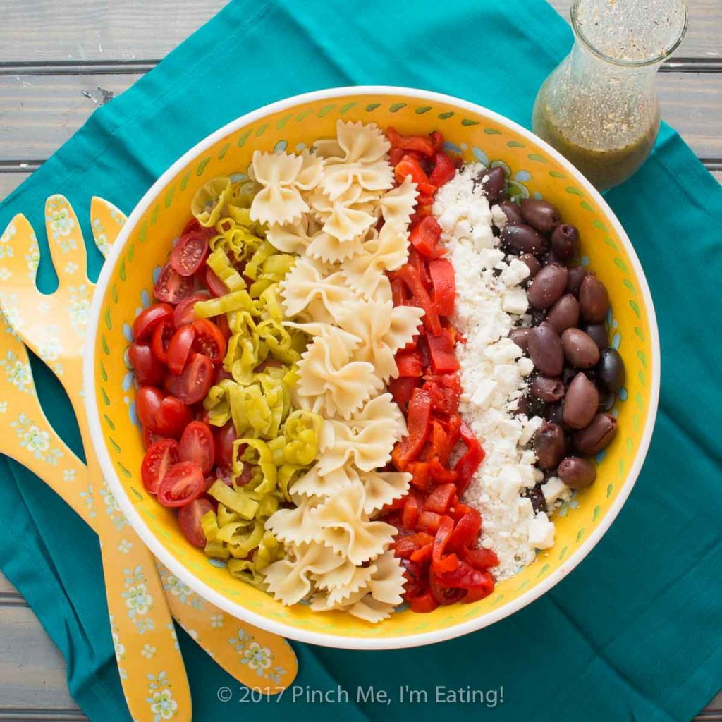 Overhead shot of Mediterranean pasta salad with Greek dressing