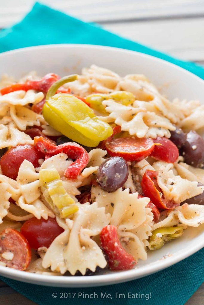 Closeup of Mediterranean bowtie pasta salad