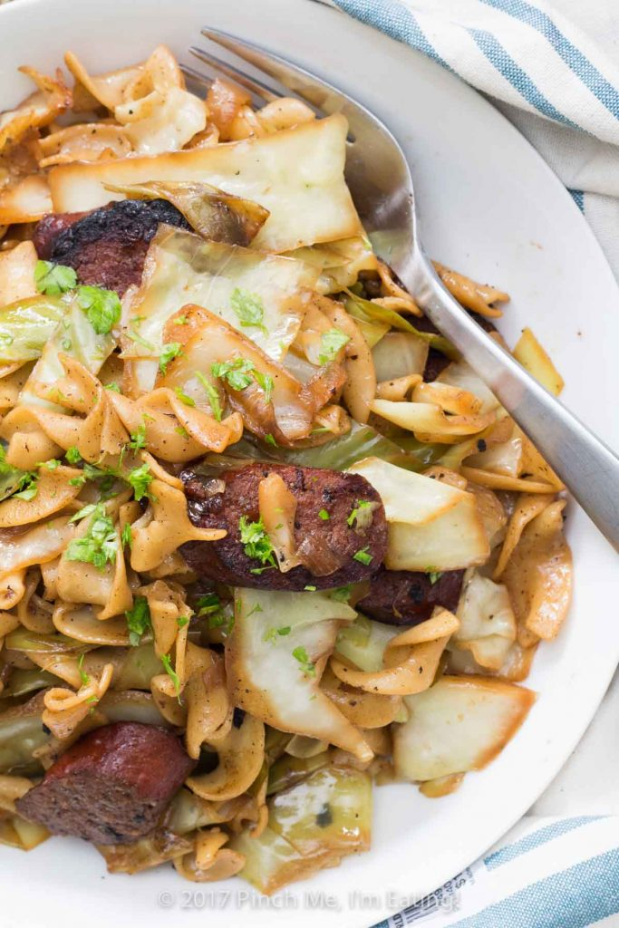 Kielbasa And Cabbage With Egg Noodles Pinch Me I M Eating