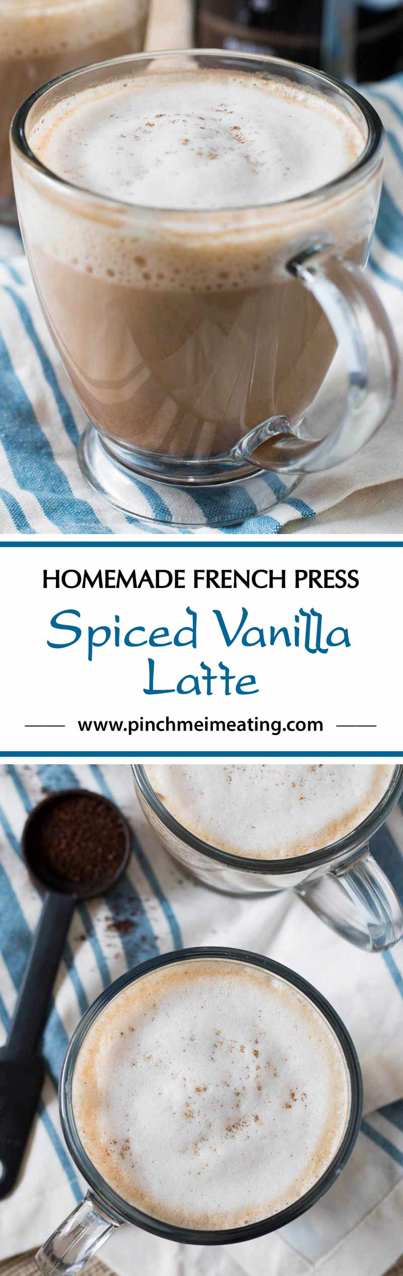 This spiced vanilla latte with a hint of cardamom and cinnamon is a simple, sophisticated coffeehouse style drink you can make at home using your French press! #CoffeehouseBlend #ad