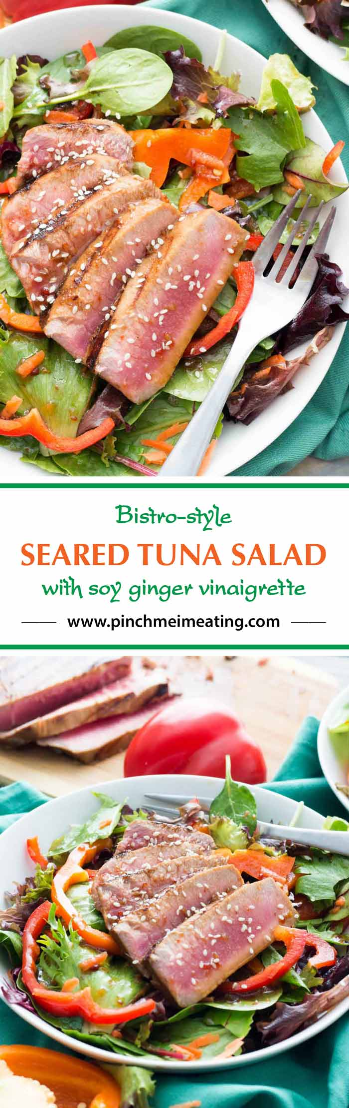 This mixed greens salad with bell peppers and a soy ginger vinaigrette is topped with a seared tuna steak for a light and refreshing spring or summer lunch!