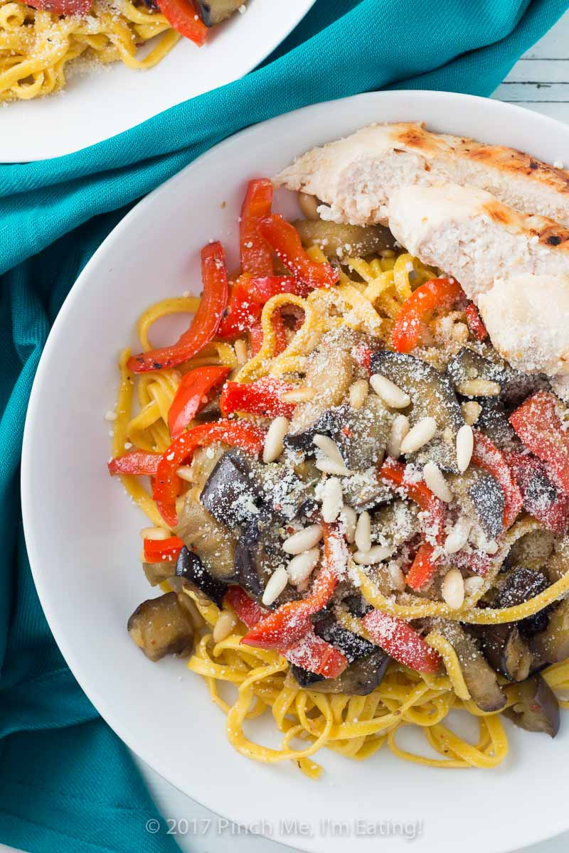 Saffron Pasta with Chicken, Eggplant, and Bell Pepper