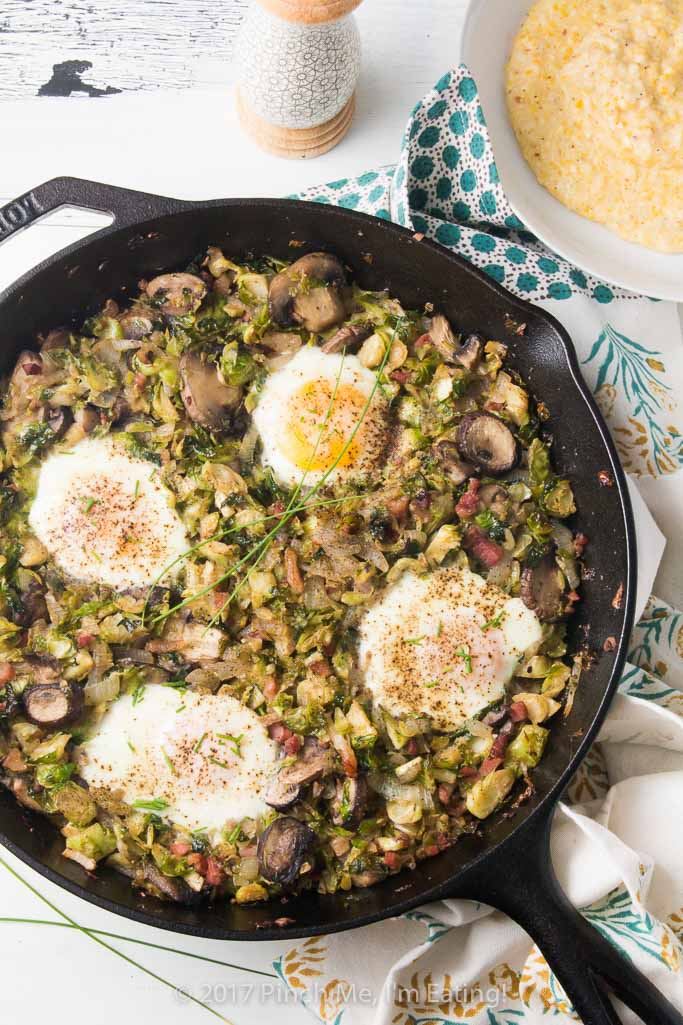Brussels Sprout Hash with Pancetta and Mushrooms