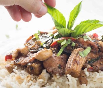 Cinnamon basil chicken and Thai eggplant stir fry takes advantage of all that seasonal summer produce and has a rich, spiced flavor you won't forget! Don't have cinnamon basil or Thai eggplants? Use what you have!
