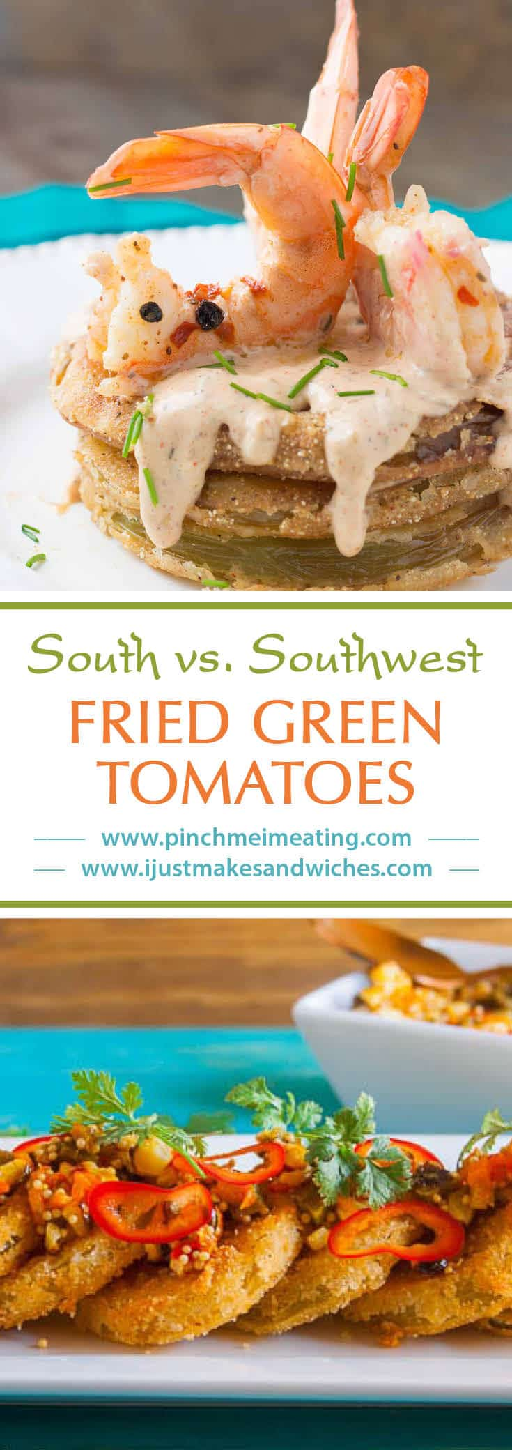 South vs. Southwest Fried Green Tomatoes - Southern fried green tomatoes with Cajun remoulade and pickled shrimp and Southwestern fried green tomatoes with roasted corn and nopales relish - two very different takes on the Southern classic!