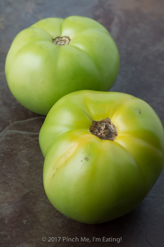 Unripened green tomatoes for making fried green tomatoes