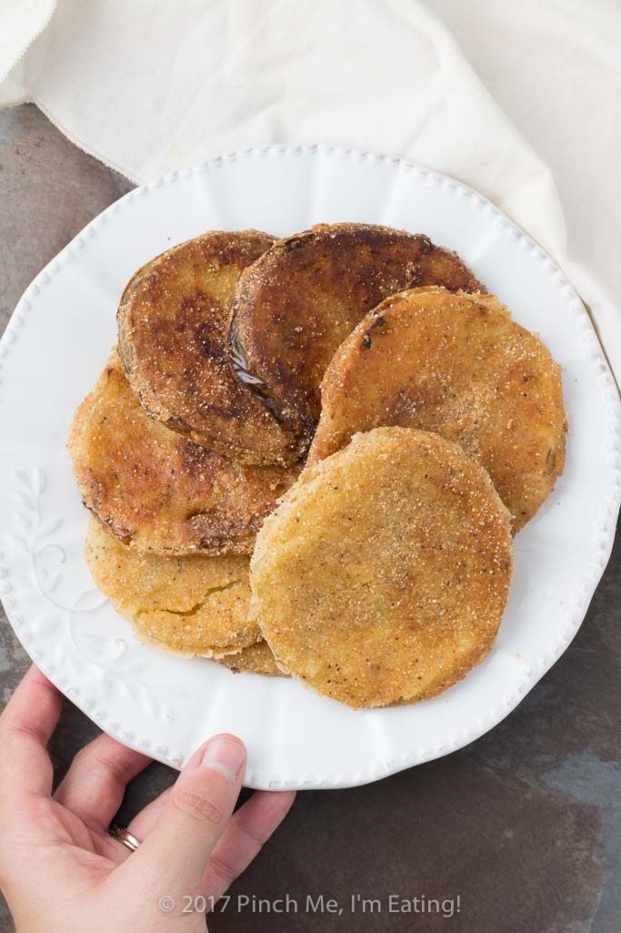 Southern fried green tomatoes with flour and cornmeal breading