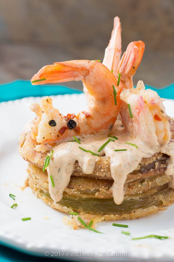 Fried Green Tomatoes with Cajun Remoulade and Pickled Shrimp