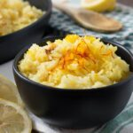 Rice cooker saffron rice is my little secret for spending NO TIME on a side dish that feels extra-fancy. With no additional prep time and just a couple extra ingredients, you can transform your plain white rice into an elegant and fragrant side dish!