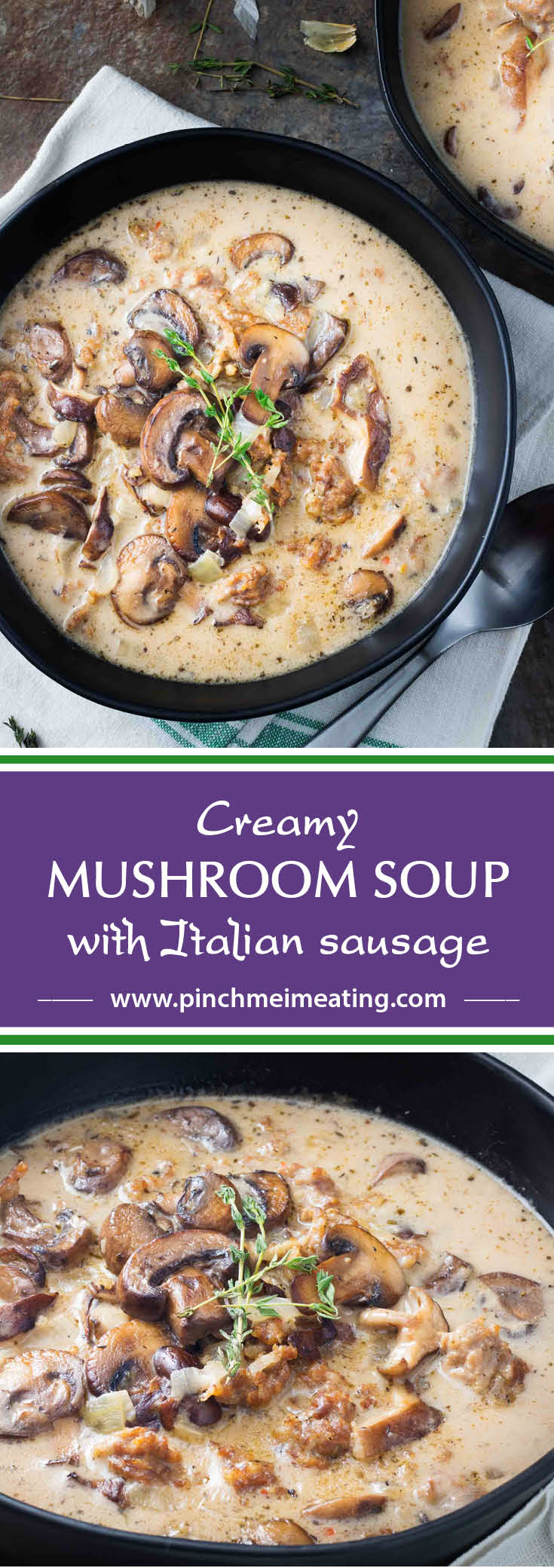 This hearty, creamy mushroom soup with Italian sausage has the added sophistication of white wine and plenty of herbs and is guaranteed to fill you up!