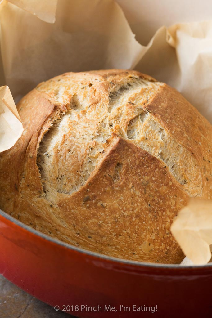 Rosemary Thyme No Knead Dutch Oven Bread Pinch Me I M Eating