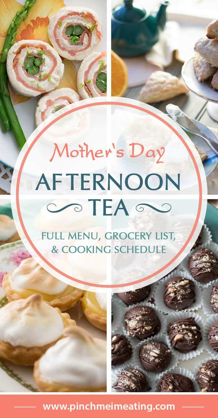 Take the hard work out of planning a Mother's Day afternoon tea with this full menu, step-by-step cooking schedule, and consolidated grocery list. You'll even have time to relax before your guests arrive! #afternoontea #mothersday #partyplanning #partyfood #teatime