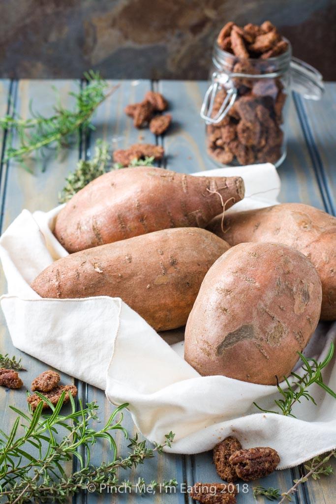 Raw sweet potatoes in a linen napkin