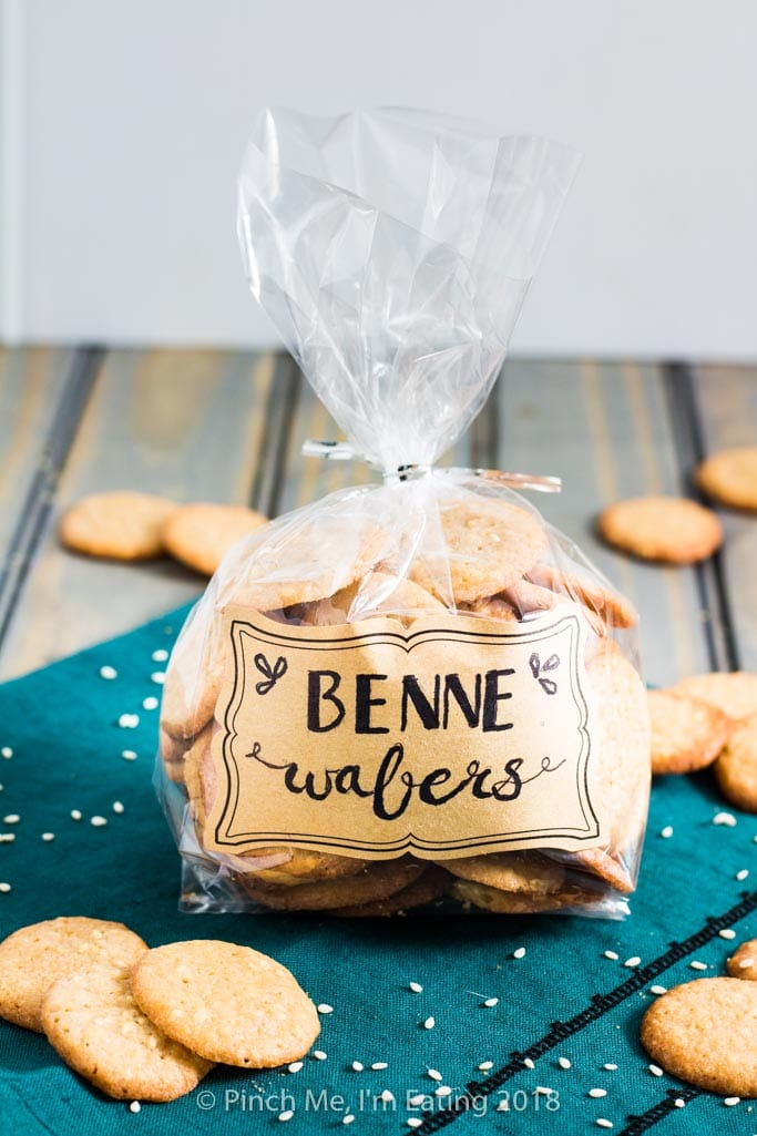 Benne wafers in cellophane treat bag with hand-lettered label for gift or favor