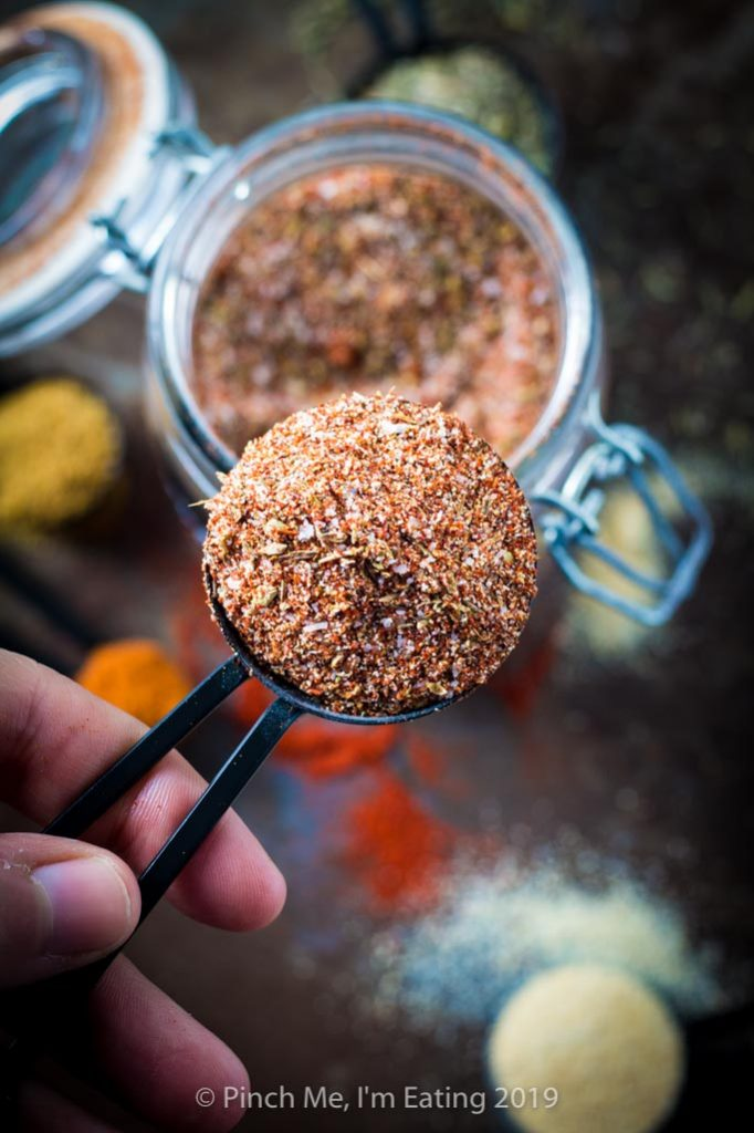 Overhead shot of spoon full of blackened seasoning