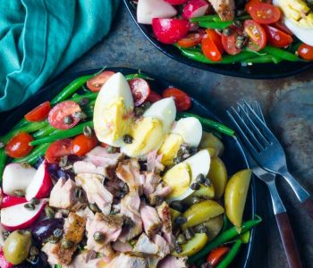 Overhead shot of classic French tuna Nicoise salad