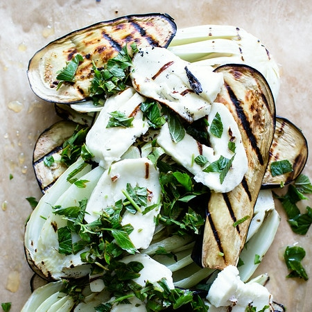 Grilled Eggplant Salad with Mint and Haloumi