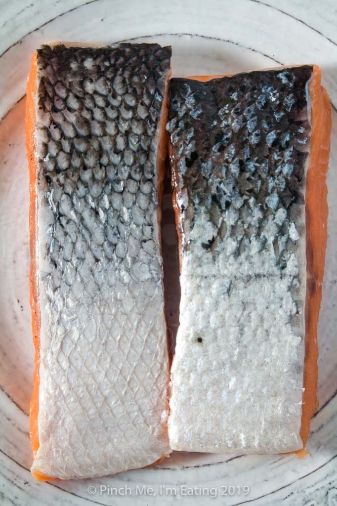 One salmon fillet with scales and one salmon fillet without scales