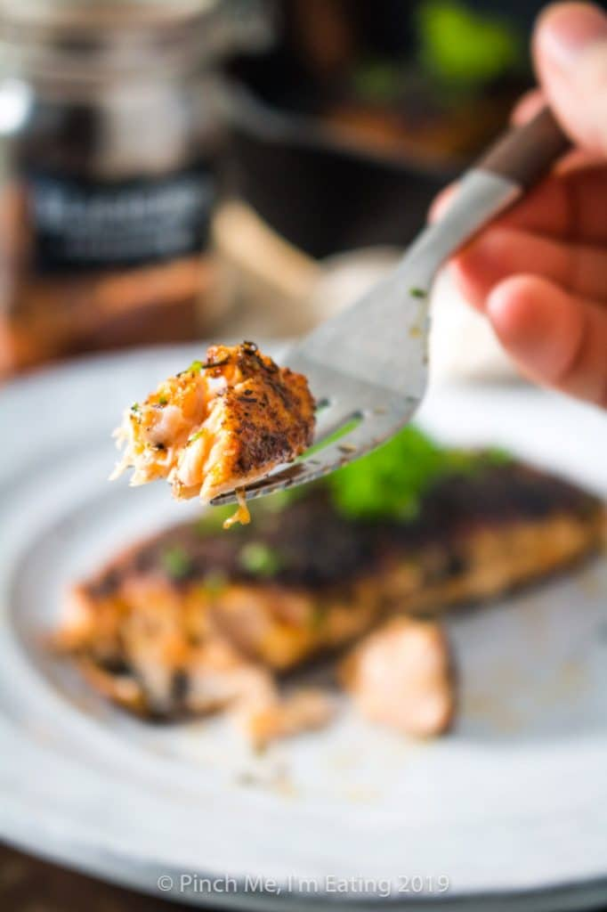 Closeup of a bite of blackened salmon on a fork