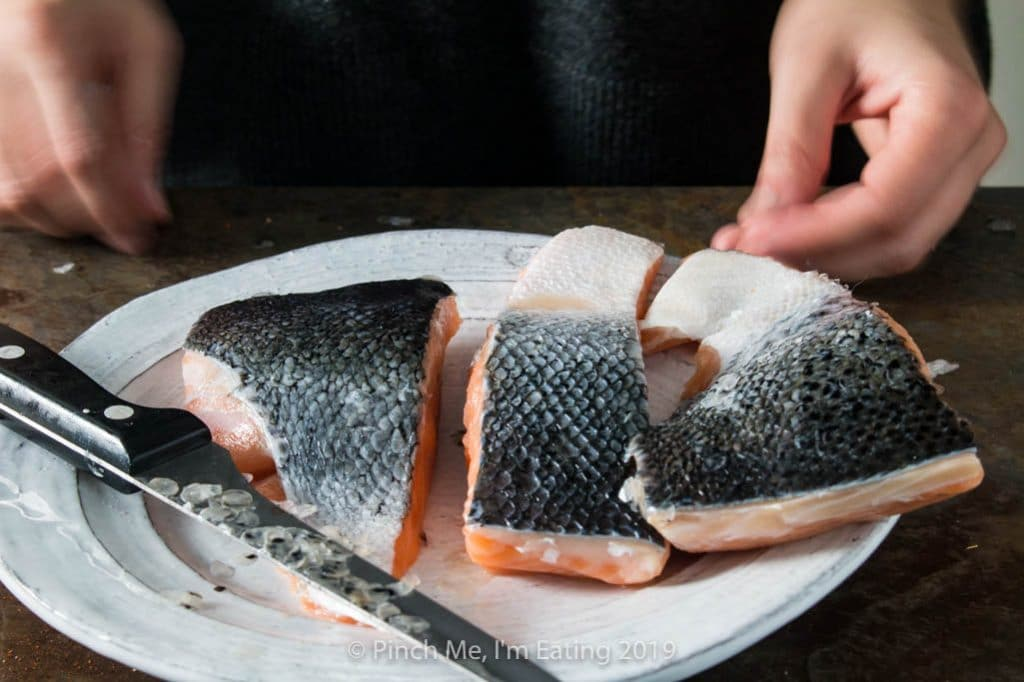 Salmon fillets without scales on a dish