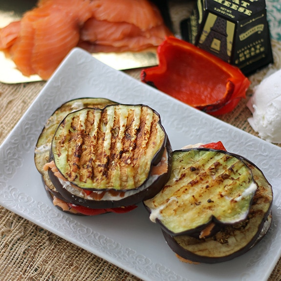 Salmon and Eggplant Grilled Cheese