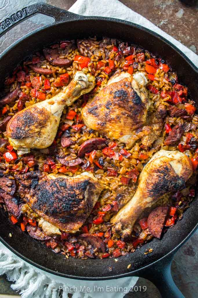 Chicken and chorizo paella in a cast iron skillet